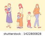 children with mum. hand drawn...   Shutterstock .eps vector #1422800828