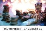 double exposure of fireworks... | Shutterstock . vector #1422865532
