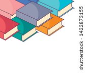 pile of textbooks isolated icon | Shutterstock .eps vector #1422873155