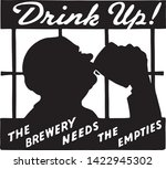 drink up 2   retro ad art... | Shutterstock .eps vector #1422945302