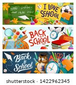Stock vector back to school owl in glasses and graduate cap education supplies and student bag vector i love 1422962345