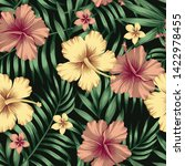 tropical composition golden and ... | Shutterstock .eps vector #1422978455