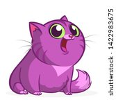 cartoon pretty purple fat cat.... | Shutterstock . vector #1422983675