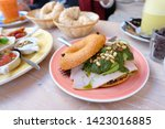 healthy bagel with ham and... | Shutterstock . vector #1423016885