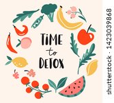 time to detox. concept with... | Shutterstock .eps vector #1423039868