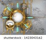 round  steampunk  brass  banner ...   Shutterstock .eps vector #1423043162