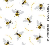 seamless pattern with bees. bee ... | Shutterstock . vector #1423053878