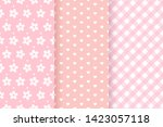 Stock vector baby girl pink pattern baby shower seamless backgrounds vector set pastel patterns for 1423057118