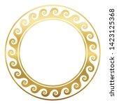 round golden frame with spirals ... | Shutterstock .eps vector #1423125368