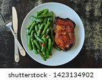 Green Pea Pods And Pork Steak...