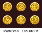 vector coins with celtic... | Shutterstock .eps vector #1423180745