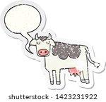 cartoon cow with speech bubble... | Shutterstock .eps vector #1423231922