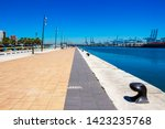 Mooring bollards and port facilities at Port of Algeciras, one of the largest ports in Europe and the world, Algeciras, Province of Cadiz, Andalusia Spain