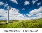 A Wind Turbine On A Wind Farm
