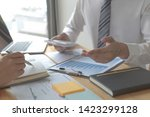 managers and accountants have... | Shutterstock . vector #1423299128
