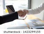 both businessmen have achieved... | Shutterstock . vector #1423299155