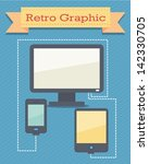 retro graphic computer and... | Shutterstock .eps vector #142330705
