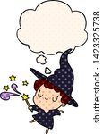 cartoon witch with thought... | Shutterstock .eps vector #1423325738