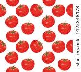 seamless pattern with tomatoes. ... | Shutterstock .eps vector #1423348178