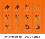 paperclip file icons on orange...