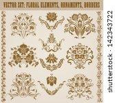 set of vector damask ornaments. ... | Shutterstock .eps vector #142343722