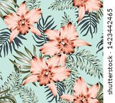tropical orchid flowers and...   Shutterstock .eps vector #1423442465