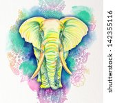 Drawn Elephant Of Color Pencils