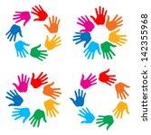 set of hand print icons  vector ...   Shutterstock .eps vector #142355968