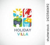 summer vacation logo with sun ... | Shutterstock .eps vector #1423560692