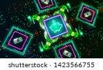 piggy bank symbol on digital... | Shutterstock . vector #1423566755