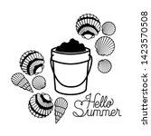 hello summer label with white... | Shutterstock .eps vector #1423570508