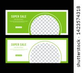 green banner design. vector.... | Shutterstock .eps vector #1423574318