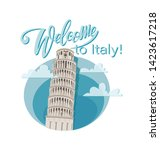 welcome to italy  leaning tower ... | Shutterstock .eps vector #1423617218