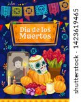 mexican day of the dead altar... | Shutterstock .eps vector #1423619465