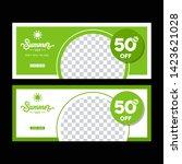 green banner design. vector.... | Shutterstock .eps vector #1423621028
