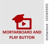 filled mortarboard and play... | Shutterstock .eps vector #1423653452