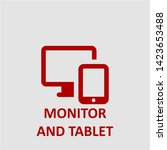 filled monitor and tablet icon. ... | Shutterstock .eps vector #1423653488