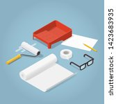 isometric vector room... | Shutterstock .eps vector #1423683935