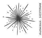 hand drawn sun burst doodle... | Shutterstock . vector #1423709648