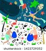 vector illustarion beach and... | Shutterstock .eps vector #1423729352