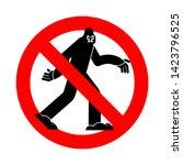 Stock vector stop bigfoot ban yeti red prohibition road sign no sasquatch 1423796525