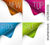 set of four curled corners | Shutterstock .eps vector #142381036