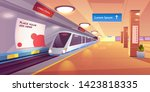 train in metro station  empty... | Shutterstock .eps vector #1423818335