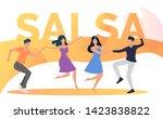 happy people dancing salsa at...   Shutterstock .eps vector #1423838822