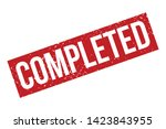 completed rubber stamp. red... | Shutterstock .eps vector #1423843955