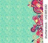 ornate card flower background ... | Shutterstock . vector #142385182