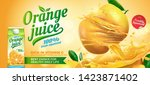 refreshing orange juice ads... | Shutterstock .eps vector #1423871402