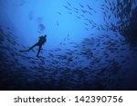 scuba diver silhouette in... | Shutterstock . vector #142390756