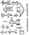 set of arrows   hand drawn  ... | Shutterstock .eps vector #142393795