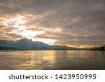 Beautiful sunset panorama view of lake Thun, Alpine lake in Bernese Oberland region, Switzerland - stock photo